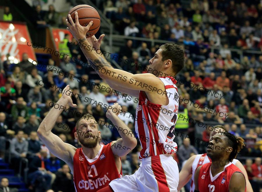 Kosarka ABA League season 2015-2016<br /> Crvena Zvezda v Cedevita<br /> Stefan Jovic (C) Luka Zoric (L)<br /> Beograd, 04.01.2015.<br /> foto: Srdjan Stevanovic/Starsportphoto&copy;