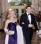 United States Representative Paul Ryan (Republican of Wisconsin) and Janna Ryan arrive for the State dinner in honor of Japanese Prime Minister Shinzo Abe and Akie Abe April 28, 2015 at the Booksellers area of the White House in Washington, DC. <br /> Credit: Olivier Douliery / Pool via CNP