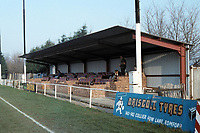 The main stand at Collier Row FC Football Ground, Sungate, Collier Row, Romford, Essex, pictured on 23rd January 1994