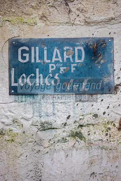 Europe/France/Centre/Indre-et-Loire/Loches:  Enseigne de La Champignonnière:: Maison Gillard à l'entrée de la cave troglodyte // France, Indre et Loire, Loches: The sign Mushroom: Gillard House at the entrance to the cave cellar