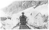 Engine #203 in snow slide &quot;cut&quot; near snowshed MP 492+.<br /> D&amp;RG  Silverton, CO  Taken by Beam, George L.