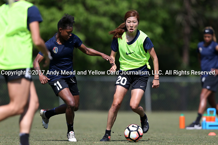 CARY, NC - APRIL 20: Yuri Kawamura (JPN) (20) and Taylor Smith (11). The North Carolina Courage held a training session on April 20, 2017, at WakeMed Soccer Park Field 7 in Cary, NC.