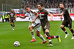 16.03.2019, BWT-Stadion am Hardtwald, Sandhausen, GER, 2. FBL, SV Sandhausen vs FC St. Pauli, <br /> <br /> DFL REGULATIONS PROHIBIT ANY USE OF PHOTOGRAPHS AS IMAGE SEQUENCES AND/OR QUASI-VIDEO.<br /> <br /> im Bild: Philipp Förster / Foerster / Forster (SV Sandhausen #28) gegen Johannes Flum (FC St. Pauli #23)<br /> <br /> Foto © nordphoto / Fabisch