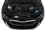 Car stock 2019 Skoda Scala  Ambition 5 Door Hatchback engine high angle detail view