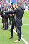 Valencia CF's Mario Suarez with his girlfriend Malena Costa and daughter before La Liga match between Atletico de Madrid and Valencia CF at Vicente Calderon Stadium  in Madrid, Spain. March 05, 2017. (ALTERPHOTOS/BorjaB.Hojas)