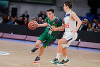Unicaja's Ivan Ruiz and Real Madrid's Diego Maganto Lucas during Finals match of 2017 Mini King's Cup at Fernando Buesa Arena in Vitoria, Spain. February 19, 2017. (ALTERPHOTOS/BorjaB.Hojas) /NortEPhoto.com