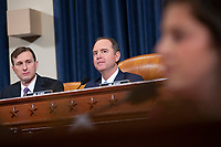 United States Representative Adam Schiff (Democrat of California) listens to United States Representative Elise Stefanik (Republican of New York) question Former U.S. Ambassador to Ukraine Marie Yovanovitch during the U.S. House Permanent Select Committee on Intelligence hearing as they investigate the impeachment of US President Donald J. Trump on Capitol Hill in Washington D.C., U.S., on Friday, November 15, 2019. <br /> <br /> Credit: Stefani Reynolds / CNP/AdMedia