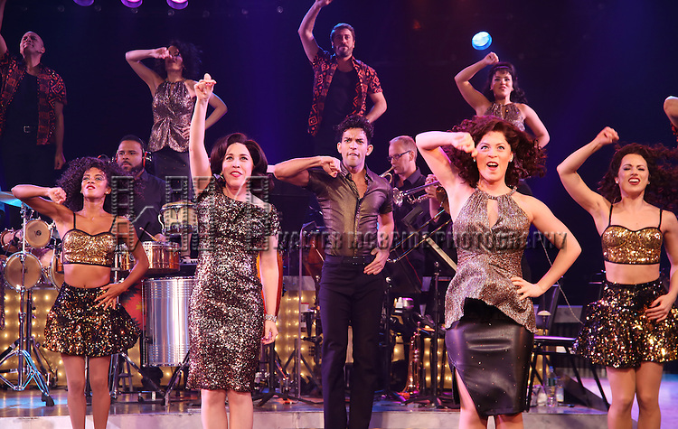 Andréa Burns and Carlos E. Gonzalez and cast of the Broadway production of 'On Your Feet!' celebrate their 500th performance at Marquis Hotel  on January 18, 2017 in New York City.