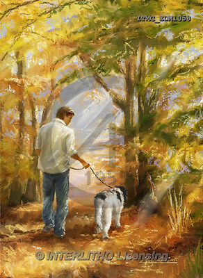 Marcello, MASCULIN, MÄNNLICH, MASCULINO, paintings+++++,ITMCEDM1058,#M# ,dog,walk,forrest,park ,everyday