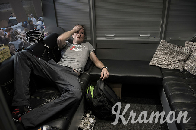 Gregory Rast (SUI/Trek-Segafredo) recovering from the race in the teambus<br /> <br /> 101th Ronde Van Vlaanderen 2017 (1.UWT)<br /> 1day race: Antwerp &rsaquo; Oudenaarde - BEL (260km)
