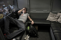 Gregory Rast (SUI/Trek-Segafredo) recovering from the race in the teambus<br /> <br /> 101th Ronde Van Vlaanderen 2017 (1.UWT)<br /> 1day race: Antwerp › Oudenaarde - BEL (260km)