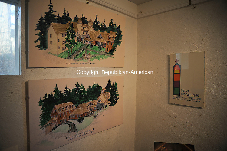 BETHLEHEM, CT,  NOVEMBER 16, 2012-  111612JS01- Concept drawings of the New Horizons Renovation Project which will upgrade  meet new, stricter fire, safety, and access codes for their buildings at the  Abbey of Regina Laudis in Bethlehem, are on display in the Little Art Shop. The total project will cost around $4 million and is being constructed by Verdi Construction of Bethel. . Jim Shannon Republican-American
