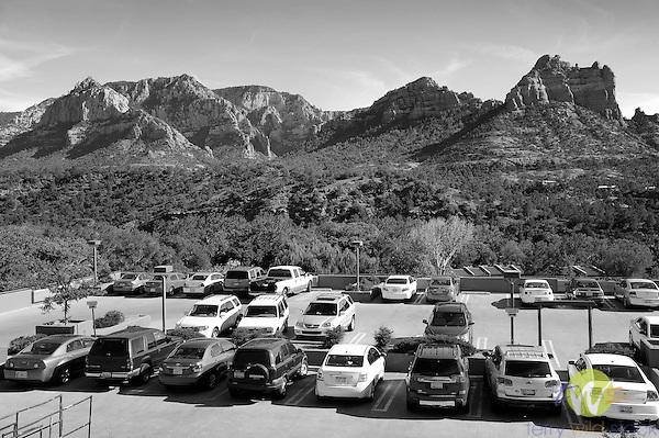 Sedona, AZ.  Parking lot and Mountains.