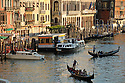 View from the Rialto Bridge at sunset, Grand Canal, Venice, Italy