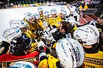 Stockholm 2013-12-30 Bandy Elitserien Hammarby IF - Broberg S&ouml;derhamn IF :  <br /> Broberg S&ouml;derhamn spelare och Brobergs Svenne Olsson tar varandra i hand i slutet av en timeout under den andra halvleken <br /> (Foto: Kenta J&ouml;nsson) Nyckelord: