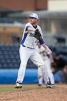 Duke Blue Devils relief pitcher Nick Hendrix (25) delivers a pitch to the plate against the California Golden Bears at Durham Bulls Athletic Park on February 20, 2016 in Durham, North Carolina.  The Blue Devils defeated the Golden Bears 6-5 in 10 innings.  (Brian Westerholt/Four Seam Images)