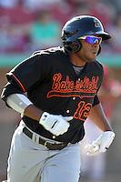 Bakersfield Blaze designated hitter Jorge Jimenez # 12 runs the bases against the High Desert Mavericks at Mavericks Stadium on July 17, 2011 in Adelanto,California. Bakersfield defeated High Desert 11-10.(Larry Goren/Four Seam Images)
