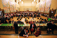Pictured: The count is under way.  Friday 09 June 2017<br />Re: Counting of ballots at Brangwyn Hall for the general election in Swansea, Wales, UK