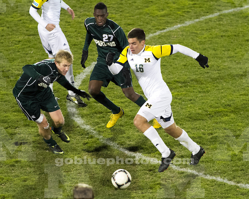 """The University of Michigan men's soccer team beat Michigan State, 1-0, on Senior Night to reclaim the """"Big Bear"""" trophy at the UM Soccer Stadium in Ann Arbor, Mich., on November 3, 2012."""