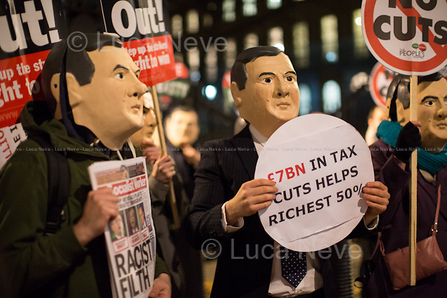 London, 02/12/2014. The day before George Osborne's Autumn Statement (one of the two statements HM Treasury makes each year to Parliament upon publication of economic forecasts, the other being the annual Budget in March - Source: http://www.wikipedia.com), The People's Assembly organised a demonstration outside Downing Street against the austerity measures which have been imposed by the Con/Dem Government, and which have been led by the Chancellor of the Exchequer George Osborne. <br />