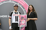 Tom Dumoulin (NED) Team Sunweb at sign on before the start of Stage 17 of the 2018 Giro d'Italia, The Franciacorta Stage running 155km from Riva del Garda to Iseo, Italy. 23rd May 2018.<br /> Picture: LaPresse/Fabio Ferrari | Cyclefile<br /> <br /> <br /> All photos usage must carry mandatory copyright credit (&copy; Cyclefile | LaPresse/Fabio Ferrari)