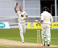Will Gidman celebrates after bowling Azhar Ali during day 1 of the four day tour match between Kent CCC and Pakistan at the St Lawrence Ground, Canterbury, on Sat April 28, 2018