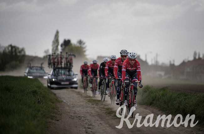 Koen de Kort (NED/Trek-Segafredo) leading Team Trek-Segafredo during their 2017 Paris-Roubaix recon, 3 days prior to the event.
