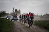 Koen de Kort (NED/Trek-Segafredo) leading Team Trek-Segafredo during their 2017 Paris-Roubaix recon, 3 days prior to the event.