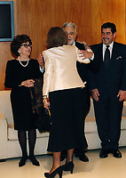 02-11-2018 Spain Spanish Emeritus Queen Sofia (2-L), greets Spanish tenor Placido Domingo (2-R), during a concert offered by the orchestra of Reina Sofia Music academy on the occasion of the 80th anniversary of Queen Sofia in Madrid, Spain<br /> <br /> .<br /> .