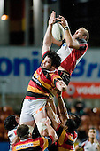 Dave Duley manages to claim lineout ball dispite the attention from Toby Lynn. Air New Zealand Cup rugby game between Waikato & Counties Manukau played at Rugby Park, Hamilton, on the 17th of August , 2007. Haltime 8 - 8. Fulltime Waikato 30 - Counties Manukau 8.