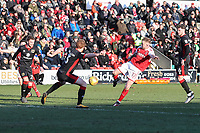 Paddy Madden of Fleetwood Town (2nd right) shoots during the Sky Bet League 1 match between Fleetwood Town and MK Dons at Highbury Stadium, Fleetwood, England on 24 February 2018. Photo by David Horn / PRiME Media Images