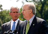 """Washington, D.C. - August 13, 2007 -- Deputy Chief of Staff Karl Rove makes remarks after announcing on Monday, August 13, 2007, that he is leaving the Bush Administration at the end of August, 2007. Standing next to United States President George W. Bush, Rove told reporters """"I am grateful to have been a witness of history. It has been the joy and the honor of a lifetime."""" Rove, a close friend of President Bush has been his most prominent advisor and political strategist..Credit: Aude Guerrucci - Pool via CNP"""