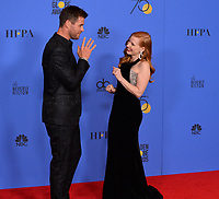 Chris Hemsworth &amp; Jessica Chastain at the 75th Annual Golden Globe Awards at the Beverly Hilton Hotel, Beverly Hills, USA 07 Jan. 2018<br /> Picture: Paul Smith/Featureflash/SilverHub 0208 004 5359 sales@silverhubmedia.com