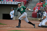 Clinton LumberKings Logan Taylor (14) swings during the game against the Cedar Rapids Kernels at Veterans Memorial Stadium on April 16, 2016 in Cedar Rapids, Iowa.  Cedar Rapids won 7-0.  (Dennis Hubbard/Four Seam Images)