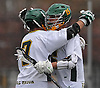 Ryan Candel #15 of Lynbrook, right, gets congratulated by teammate #7 Brandon Fabel after scored a goal in a Nassau County varsity boys lacrosse game against Wantagh at Marion Street Elementary School on Wednesday, Apr. 27, 2016. Candel tallied five goals in Lynbrook's 14-7 win.
