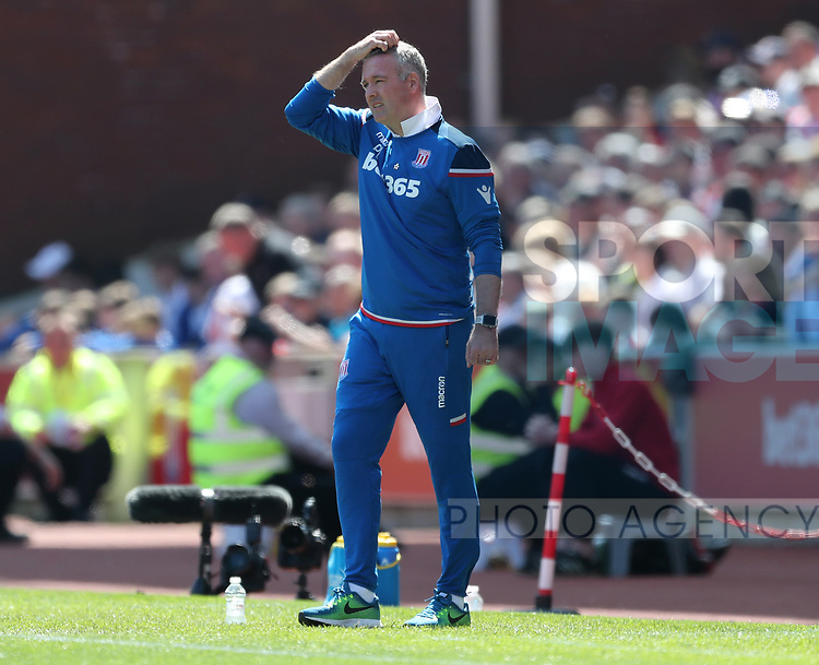 Paul Lambert manager of Stoke City looks on during the premier league match at the Britannia Stadium, Stoke on Trent. Picture date 5th May 2018. Picture credit should read: Simon Bellis/Sportimage