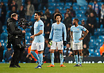 Manchester City's Leroy Sane and Raheem Sterling look on dejected at the final whistle during the Champions League Quarter Final 2nd Leg match at the Etihad Stadium, Manchester. Picture date: 10th April 2018. Picture credit should read: David Klein/Sportimage