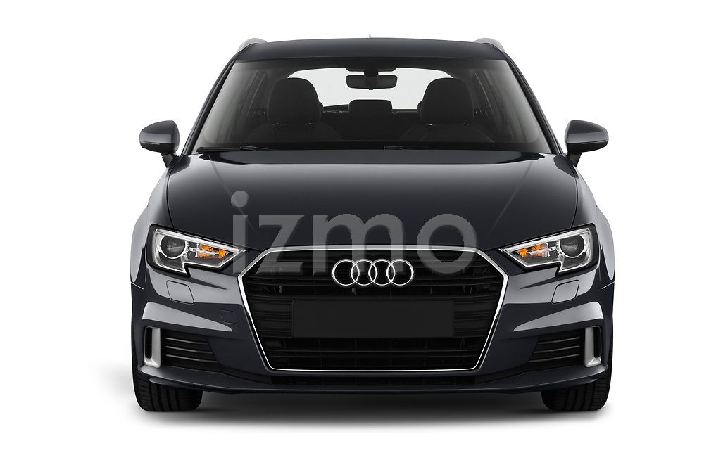 Car photography straight front view of a 2019 Audi A3 Sportsportback Sport 5 Door Hatchback