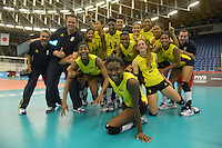 REPUBLICA CHECA. 23-06-2013. La selección Colombia sub 20 de voleibol femenino consiguió este domingo su primera victoria en el Campeonato Mundial de la categoría, que se disputa en Brno, República Checa, al derrotar a Tailandia, por 3-0./ Colombian team beated Thailand by score of 3-0 in 2013 Women's Under 20 World Championship Tournament at Brno, Czech Repuiblic. Photo: VizzorImage / FIVB/ COURTESY/ NO SALES/ EDITORIAL USE ONLY