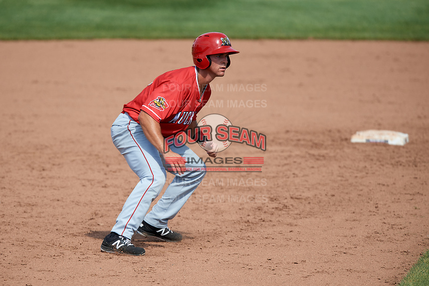 Batavia Muckdogs left fielder Matt Brooks (15) leads off second base during a game against the Auburn Doubledays on June 17, 2018 at Falcon Park in Auburn, New York.  Auburn defeated Batavia 10-6.  (Mike Janes/Four Seam Images)