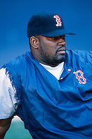 Mo Vaughn of the Boston Red Sox at Anaheim Stadium in Anaheim,California during the 1996 season. (Larry Goren/Four Seam Images)