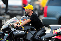 Sept. 3, 2011; Claremont, IN, USA: NHRA pro stock motorcycle rider Matt Smith during qualifying for the US Nationals at Lucas Oil Raceway. Mandatory Credit: Mark J. Rebilas-