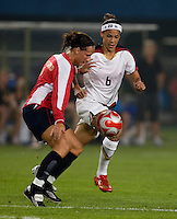 Natasha Kai, Ane Stangeland. The US lost to Norway, 2-0, during first round play at the 2008 Beijing Olympics in Qinhuangdao, China.