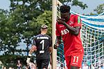 20.07.2019, Heinz-Dettmer-Stadion, Lohne, GER, Interwetten Cup, VfL Osnabrueck vs 1. FC Koeln<br /> <br /> im Bild<br /> Jubel 0:3, Kingsley Schindler (Koeln #11) bejubelt seinen Treffer zum 0:3, Nils Körber (VfL Osnabrueck #01), <br /> <br /> Foto © nordphoto / Ewert