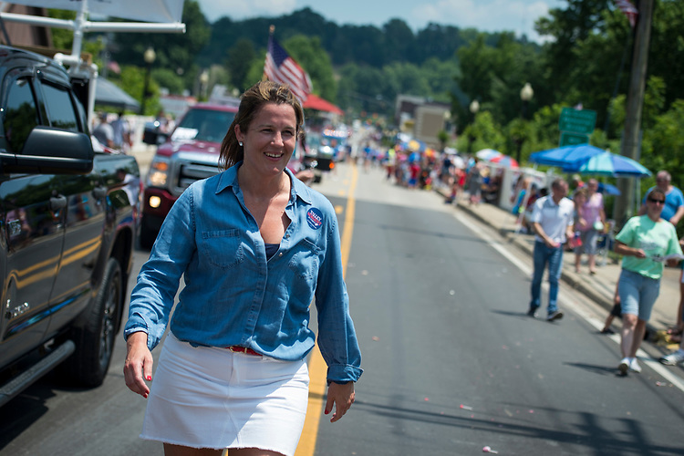 UNITED STATES - July 4: Talley Sergent, who is campaigning to be elected as a House Representative for West Virginia, marches in the Ripley 4th of July Grand Parade in Ripley, West Virginia Wednesday July 4, 2018. (Photo By Sarah Silbiger/CQ Roll Call)