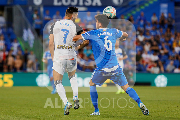 Leandro Cabrera of Getafe CF and Lucas Perez of Deportivo Alaves during La Liga match between Getafe CF and Deportivo Alaves at Colisseum Alfonso Perez in Getafe, Spain. August 31, 2019. (ALTERPHOTOS/A. Perez Meca)