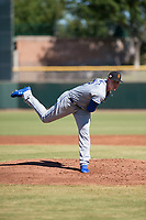 Surprise Saguaros starting pitcher Scott Blewett (32), of the Kansas City Royals organization, follows through on his delivery during an Arizona Fall League game against the Scottsdale Scorpions at Scottsdale Stadium on October 26, 2018 in Scottsdale, Arizona. Surprise defeated Scottsdale 3-1. (Zachary Lucy/Four Seam Images)