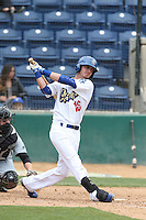 Brandon Trinkwon (16) of the Rancho Cucamonga Quakes bats during a game against the Visalia Rawhide at LoanMart Field on May 6, 2015 in Rancho Cucamonga, California. Visalia defeated Rancho Cucamonga, 7-2. (Larry Goren/Four Seam Images)