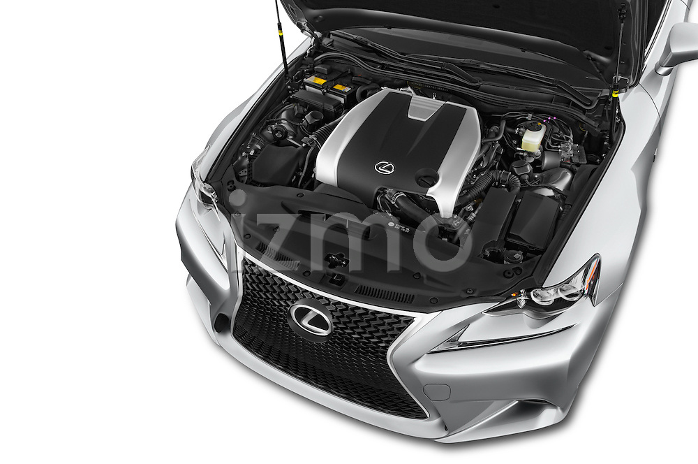 Car stock 2015 Lexus IS 350 4 Door Sedan engine high angle detail view