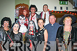 1259-1263.---------.Ghost stories.-------------.Front,L-R Maeve Goodall,Dionne Comerfort,Pat Lovett,Louise O'Connor,Kay Brosnan,Alan Hanifin and Ina Galvin(Back)L-R Siobhan O'Dowd,Larry Madden and Joe Byrne all enjoying the scary music at the locals halloween party last Saturday in Gallys bar/restaurant Castlemaine Rd,Tralee.